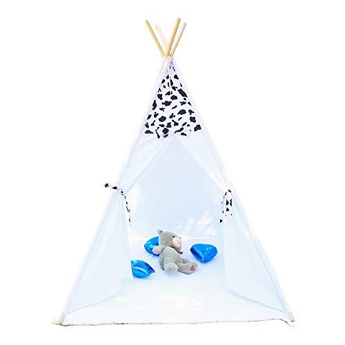 Tamia-Home Zelt Tipi Kinderzelt Spielzelt für Innen mit Baumwollsegeltuch und Holzstangen (Dalmatiner)