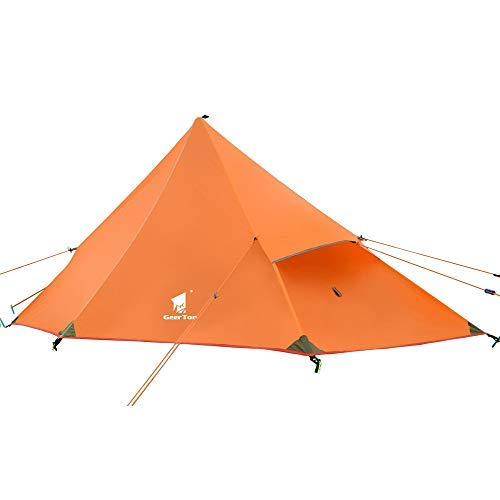 GEERTOP 20D Ultraleichtes Zelt für 1 Person, 3 Jahreszeiten, für Camping, Wandern, Klettern (Stange Nicht im Lieferumfang enthalten) – Orange/Außenzelt + Innenzelt