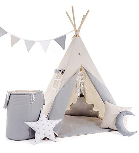 RAINBOW KIDS - Tipi Zelt für Kinder | Neu Tippi Kinderzelt, mit Decke, 4 Kissen , Wimpelkette, Spielzeugkorb für Outdoor- und Indoor-Kinderspaß, Handgefertigt Grauer Wolf mit Zubehör