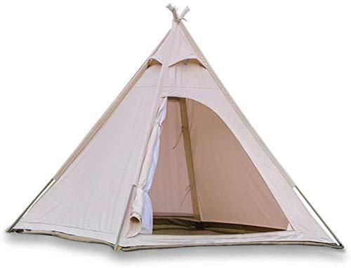 TentHome Outdoor Tipi Indianer Zelt Baumwolle Leinwand Pyramidenzelt für Erwachsene Camping Glamping Zelt für 2–3 Personen (Zelt und Markise)