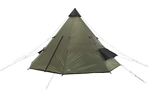 Grand Canyon Tepee - Tipi / Indiana Zelt für 8-Personen, Ø 500 cm, für Gruppen, Camping, Outdoor, Abenteuer, Glamping, olive/schwarz, 602007