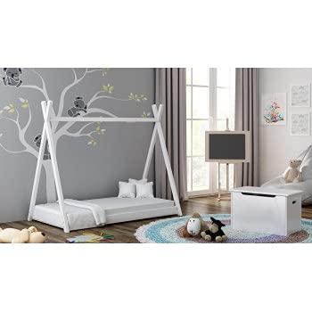 Children's Beds Home Einzelhimmelbett aus massivem Holz - Titus Tepee Style für Kinder Kinder Kleinkind Junior - Ohne Matratze (140x70, Weiß)