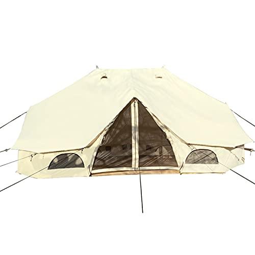 Skandika Baumwoll-Tipi Freya für 12 Personen | eingenähter Zeltboden mit Reißverschluss, aufrollbare Seitenwände, 6 x 4 m, 3 m Stehhöhe, wasserdicht | Robustes Zelt für Gartenparty, Glamping, Camping