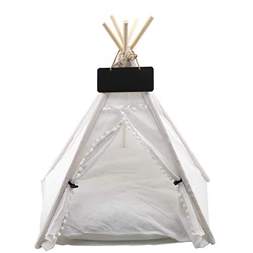 YINETTECH Weißes Tipi-Zelt für Hunde und Katzen, mit Kissen und Tafel, abnehmbar, waschbar, 60 x 50 x 50 cm
