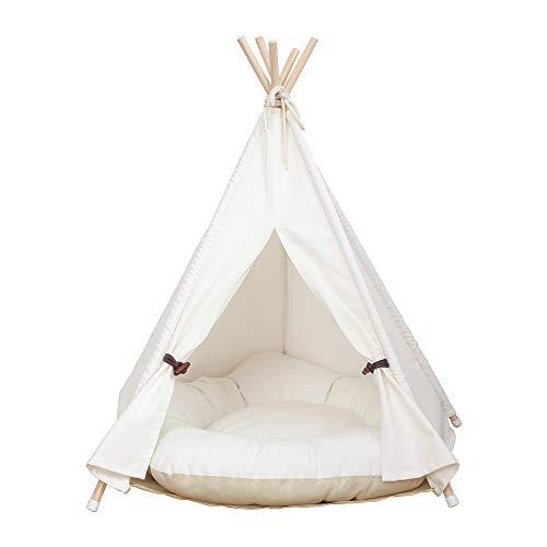 AcTek Haustier Tipi Hunde Tipi Zelt Hause und Zelt mit Spitze für Hund oder Haustier, abnehmbar und waschbar mit Matraze