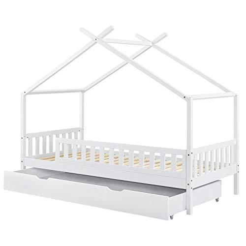 ArtLife Kinderbett Tipi mit Bettkasten und Lattenrost | 90 x 200 cm | weiß | Dach-Gestell für Himmel | Bett Hausbett