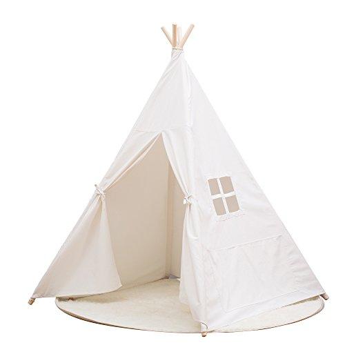 Small Boy Indian Kinderzelt Baumwolle Leinwand Zelt aktiven Druck und Färben Zelt (Weiß)