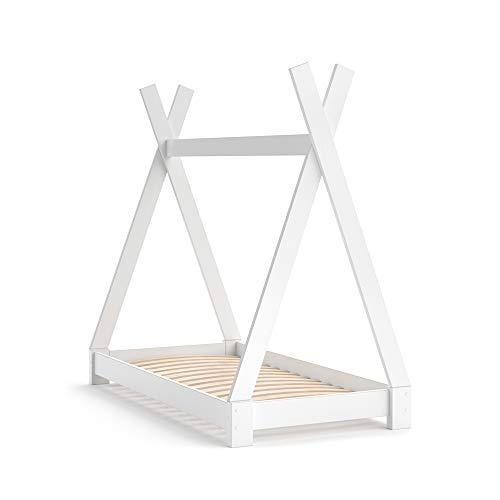 VitaliSpa Kinderbett Tipi Hausbett Indianer Bett Kinderhaus Massivholz Zelt Holz (Weiß, 70 x 140 cm)