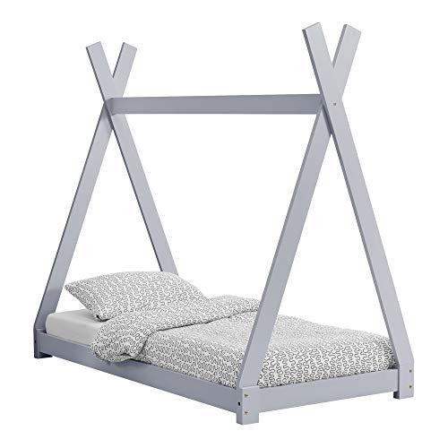 [en.casa] Kinderbett im Tipi-Design aus Kiefernholz Jugendbett Holzbett Hausbett 70x140 cm Hellgrau