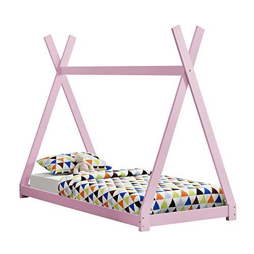 [en.casa] Kinderbett 90x200cm Tipi Indianer Bett Holz Rosa Hausbett Kinder Haus