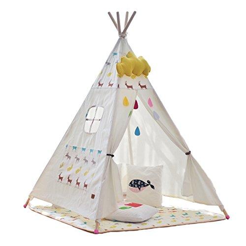 little dove Tipi Spielzelt Indianerzelt Zelt Kinderzimmer Spielzimmer für Kinder Natürliches Baumwollsegeltuch(ohne Matratze)