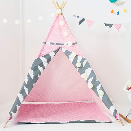 BLITSR Tipi Zelt für Kinder & Babys - Kinderzelt mit Bodenmatte - Indoor & Outdoor Spielzelt - 120 x 120 x 150 cm - Indianerzelt für Jungen & Mädchen - rosa
