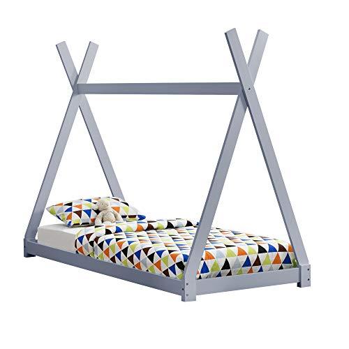 [en.casa] Kinderbett 90x200cm Tipi Indianer Bett Holz Grau Hausbett Kinder Haus