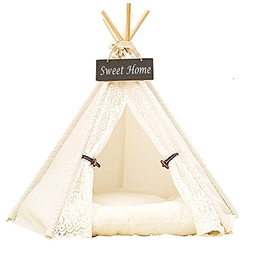 Dewel Haus und Zelt für Hund / Haustier, abnehmbar und waschbar, Spitze, weiß