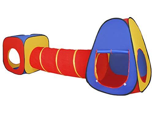 ISO TRADE Kinder Spielzelt Spielhaus Kinderzelt Baby Tunnel Röhre 3Teile 283x67x92cm 4826