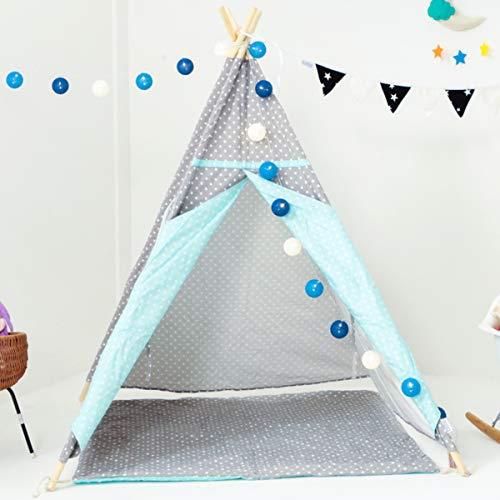 BLITSR Tipi Zelt für Kinder & Babys - Kinderzelt mit Bodenmatte - Indoor & Outdoor Spielzelt - 120 x 120 x 150 cm - Indianerzelt für Jungen & Mädchen - grau / blau