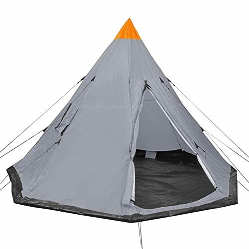 Tidyard 4-Personen-Zelt Pyramidenzelt mit Heringen und Spannseilen & 2 Fenster Campingzelt Freienzelt Außenzelt Tipi Zelt für Trekking, Camping Grau