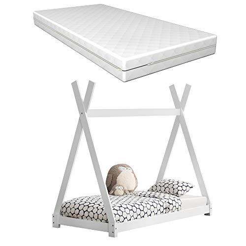 [en.casa] Kinderbett Weiß mit Matratze 80x160cm Tipi-Design Kiefernholz Bett Holzbett Hausbett Kaltschaummatratze Öko-Tex Standard 100 Allergikergeeignet Atmungsaktiv