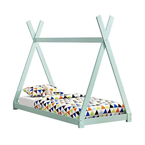 [en.casa] Kinderbett 90x200cm Tipi Indianer Bett Holz Mint Hausbett Kinder Haus