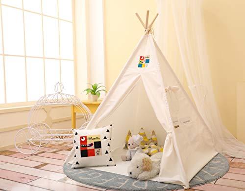 Elflandis Tipi Spielzelt für Kinder mit Matte & Aufbewahrungs- Tasche & Box Baumwolle Segeltuch Kinderzelt (Weiß)