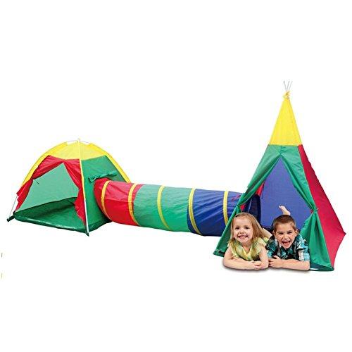 Kinderspielzelt 2 Zelte mit extra langem Tunnel - 3,40 Meter Breit