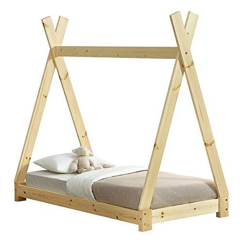[en.casa] Kinderbett 70x140cm Natur Holz im Tipi Design aus Kiefernholz Jugendbett Bett Holzbett Hausbett