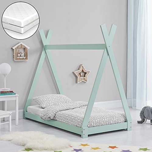 [en.casa] Kinderbett mit Matratze 70x140cm Mintgrün Tipi Design Kiefernholz Bett Holzbett Hausbett Kaltschaummatratze Öko-Tex Standard 100 Allergikergeeignet Atmungsaktiv