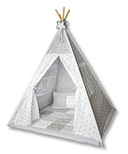 Amilian Tipi Spielzelt Zelt für Kinder T01 (Spielzelt ohne Tipidecke/ohne Kissen)