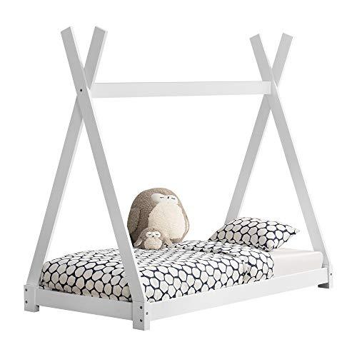 [en.casa] Kinderbett 80x160cm Weiß im TipiDesign aus Kiefernholz Jugendbett Bett Holzbett Hausbett
