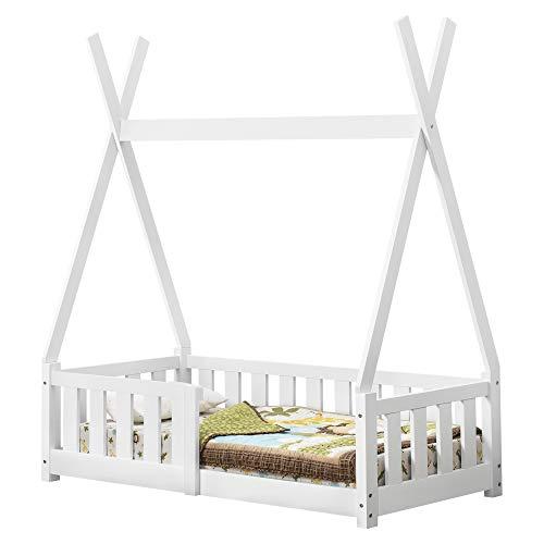 [en.casa] Kinderbett 70x140cm Weiß mit Rausfallschutz im Tipi Design aus Kiefernholz Jugendbett Bett Holzbett Hausbett