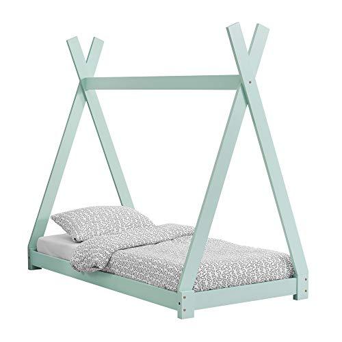 [en.casa] Kinderbett im Tipi-Design aus Kiefernholz Jugendbett Holzbett Hausbett 80x160 cm Mint