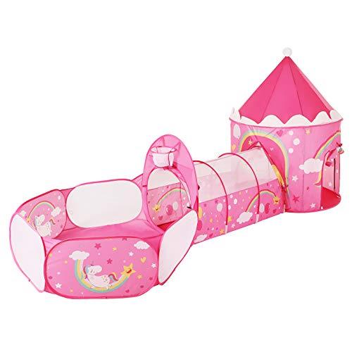 SONGMICS 3-in-1 Spielzelt, Pop-up, mit Tunnel, Bällebad, Basketballkorb, für Kinder, für innen und außen, mit Einhorn-/Prinzessinen-Motiv, Geschenkidee, zum Geburtstag, pink LPT701P01