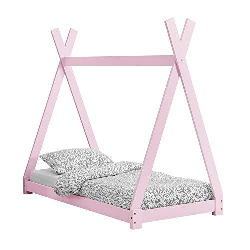 [en.casa] Kinderbett im Tipi-Design aus Kiefernholz Jugendbett Holzbett Hausbett 80x160 cm Rosa