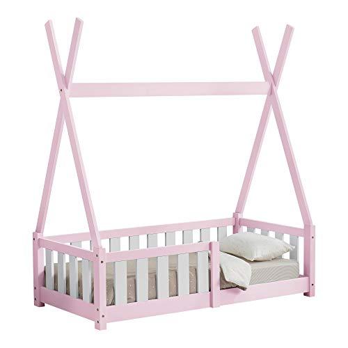 [en.casa] Kinderbett 70x140cm Rosa mit Rausfallschutz im Tipi Design aus Kiefernholz Jugendbett Bett Holzbett Hausbett