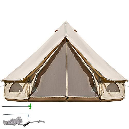 BuoQua 4m Glockenzelt Outdoor-Glamping Canvas-Zelt Baumwolle Tipi Zelt für Camping Waterproof für Familien Camping Outdoor Hunting für alle Jahreszeiten
