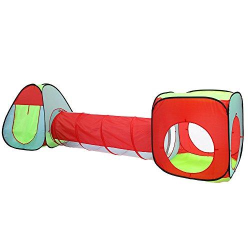 Schramm® 3tlg. Kinderspielzelt mit Tunnel Bällezelt Bällebad Pop Up Kinderzelt Spielzelt mit Tasche für drinnen und draußen Bällezelte Bälle Zelte Zelte