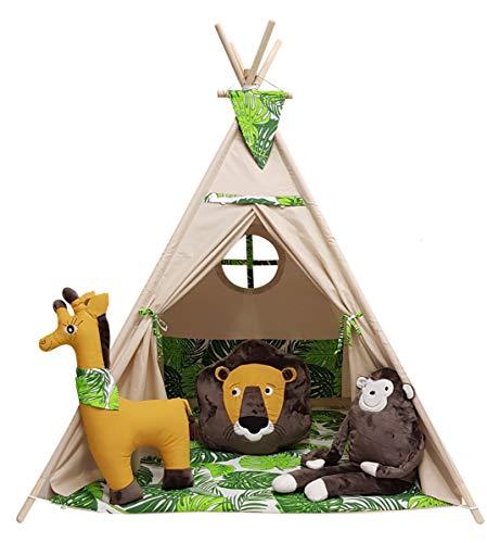 izabell Kinder Spielzelt Tipi Set für Kinder drinnen draußen Spielzeug Zelt Indianer Indianertipi mit Fenster und mit Zubehör Tipizelt URBAN Jungle