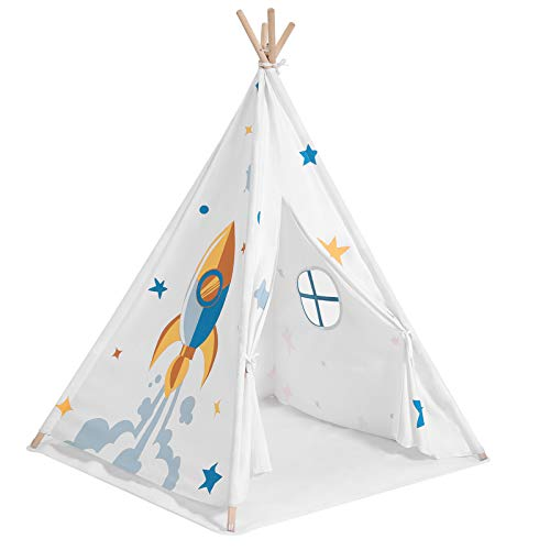 SONGMICS Tipi für Kinder, tragbares Indianerzelt, Spielzelt mit Fenster, Transporttasche, Bodenmatte, inklusive, Versteck für bis zu 3 Kinder, 110 x 110 x 155 cm, weiß LPT120W01