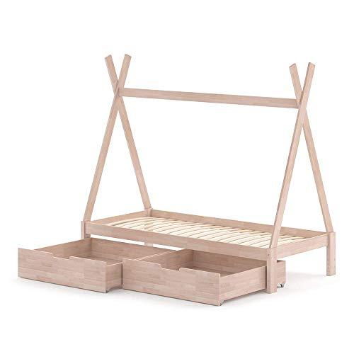 VitaliSpa Kinderbett Tipi Hausbett weiß Natur Bett Kinderhaus Zelt Bett Schublade 90x200cm