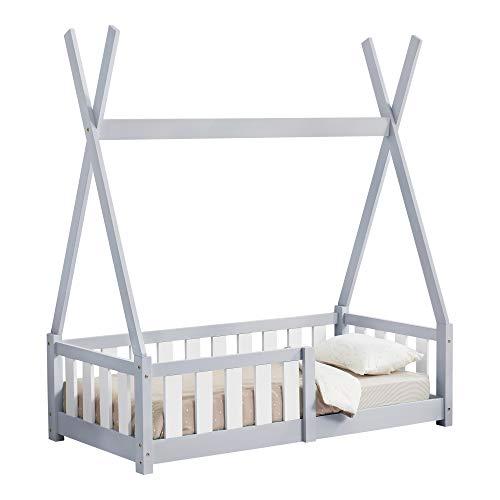 [en.casa] Kinderbett 70x140cm Hellgrau mit Rausfallschutz im Tipi Design aus Kiefernholz Jugendbett Bett Holzbett Hausbett
