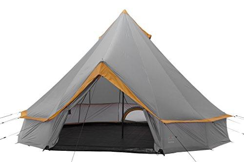 Grand Canyon Indiana - Rund-/ Pyramidenzelt, Tipi, 8 Personen, für Gruppen, Camping, Outdoor, Glamping, grau/orange, Ø 400 cm, 302022