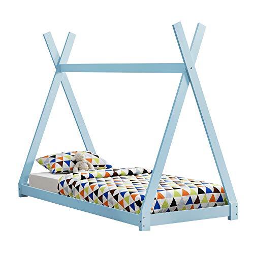 [en.casa] Kinderbett 90x200cm Tipi Indianer Bett Holz Blau Hausbett Kinder Haus