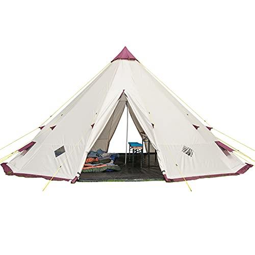 Skandika Tipi 300 / 301 Zelt Outdoor | Campingzelt für bis zu 12 Personen, eingenähter Zeltboden, Moskitonetz, 3 m Stehhöhe, 5,5 m Durchmesser, Stahl-Gestänge | Indianerzelt, Partyzelt, Festivalzelt, Glamping (Tipii 301 mit eingenähtem Zeltboden)