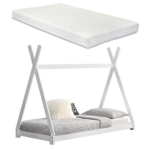 [en.casa] Kinderbett mit Matratze 90x200cm Weiß Tipi Design Kiefernholz Bett Holzbett Hausbett Kaltschaummatratze Öko-Tex Standard 100 Allergikergeeignet Atmungsaktiv