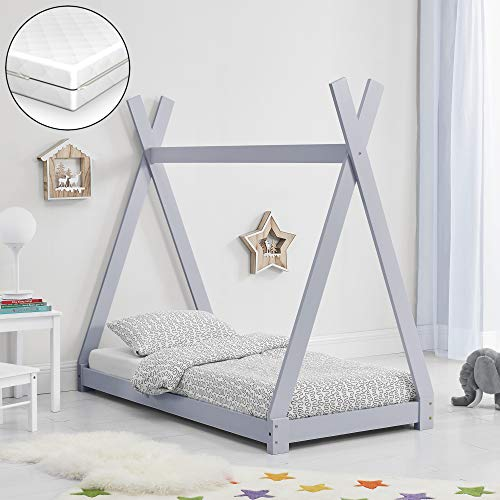 [en.casa] Kinderbett mit Matratze 80x160cm Hellgrau Tipi Design Kiefernholz Bett Holzbett Hausbett Kaltschaummatratze Öko-Tex Standard 100 Allergikergeeignet Atmungsaktiv