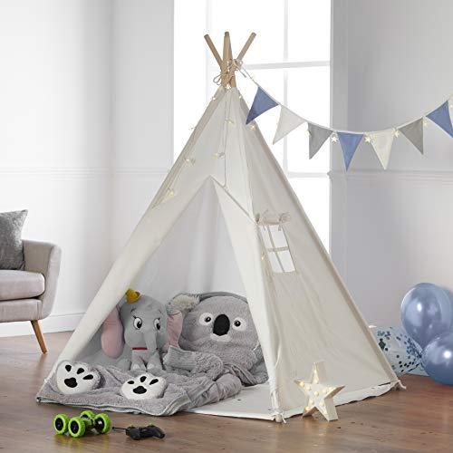 Haus Projekt Tipi Zelt Für Kinder mit Zubehör, Lichterkette, Wimpelkette, Aufbewahrungstasche & Bodenmatte – Kinderzimmer Spielzelt 100% Baumwoll, Teepee für drinnen / draußen (160cm hoch)