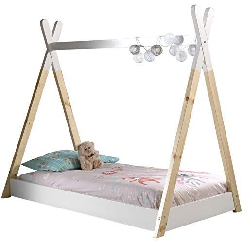 Vipack Tipi Zelt Bett Liegefläche 70 x 140 cm, Weiß/Natur