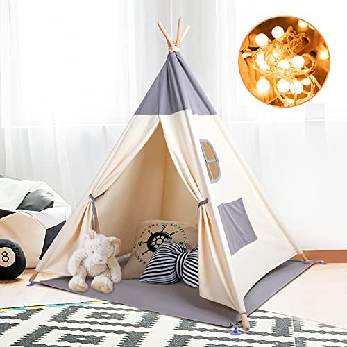 Kinderzelt Spielzelt Tipi Zelt Teepee für Kinder aus 100% Baumwolle + graue Matte + Lichterkette