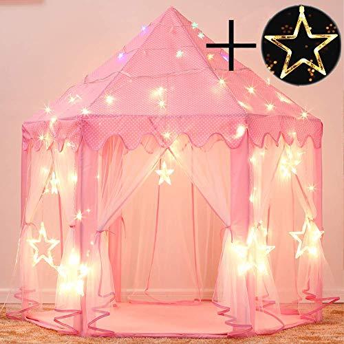 Gunolye Kinderspielzelt,Prinzessin Castle Spielzelt,Indoor Kinder Spielhaus ,Mädchen Großes Spielhaus mit LED Farbe Lichterketten ,Mädchen Geschenk (Pink)