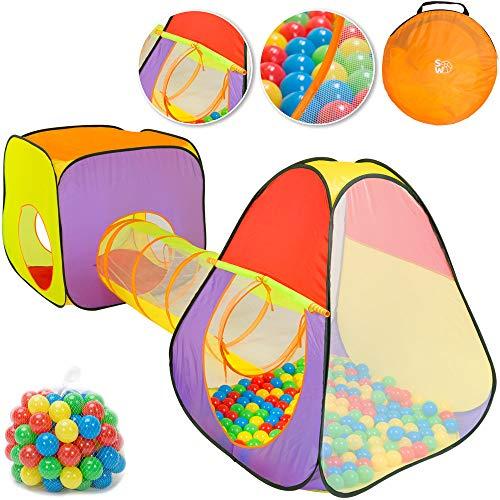 Spielwerk Bällebad Spielzelt 3-teiliges XL Spielhaus Pop Up Funktion inkl. 200 Bälle Tragetasche Spieltunnel Netzfenster